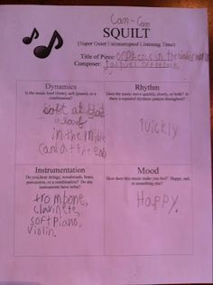 """Homegrown Learners - Home - A Simple Way to Incorporate Music ~ SQUILT NotebookingPages.  I always wondered what """"SQUILT"""" was!!  Super Quiet UnInterupted Listening Time!  This form will give me some ideas of how I'd like to incorporate more listening appreciation in class."""