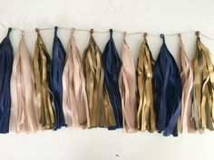 Tissue paper tassel garland in Navy Blue Antique Gold by PomJoyFun