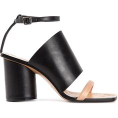 Maison Margiela chunky heel sandals ($450) ❤ liked on Polyvore featuring shoes, sandals, heels, black, leather sandals, open toe sandals, leather ankle strap sandals, thick heel sandals and ankle wrap sandals