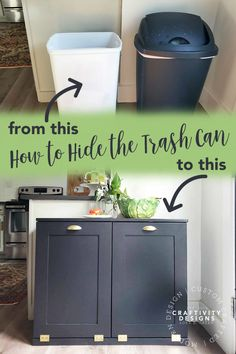 How to Hide the Trash Can Want to hide the trash and recycling in the kitchen? I partnered with to solve this dilemma in our kitchen. A trash can cabinet hides both my recycling and trash - in plain sight! Tilt Out Trash Bin Hidden Trash Can Kitchen, Kitchen Garbage Can Storage, Kitchen Trash Cans, Kitchen Storage, Kitchen Bins, Recycling Bin Storage, Storage Bins, Storage Ideas, Kitchen Recycling Bins