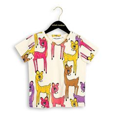 Mini Rodini Organic Cotton Roe Deer Print Short Sleeve Tee Pink
