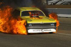 Chevrolet Nova / Chevy II nostalgia funny car on fire Funny Car Racing, Nhra Drag Racing, Funny Cars, Chevy, Chevrolet, Top Fuel Dragster, Drag Bike, Race In America, Street Racing
