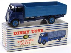 Lot 291 – Dinky Toys 911 Guy 4-Ton Lorry, dark blue cab/ chassis, mid blue back/wheel hubs in mint condition, complete with dual number blue/white stripe box in excellent condition, a superb example! – Vintage and Collectible Toys 02 Apr 2014 http://www.candtauctions.co.uk/