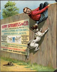 The art for an 1897 flyer, advertising the strength of Levi Strauss & Co.'s copper-riveted pants, has a unique feature—the face of Levi Strauss himself. Vintage Dog, Vintage Levis, Vintage Signs, Vintage Posters, Old Poster, Poster Ads, Old Advertisements, Advertising, Levis Store