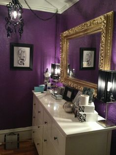 Purple Room Bedrooms Black Bedroom Walls Mirror