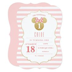 Pink and Gold Birthday Invites Unique Minnie Mouse Gold & Pink Striped Birthday Invitation Disney Invitations, Zazzle Invitations, Bridal Shower Invitations, Birthday Party Invitations, Birthday Party Themes, Birthday Cards, Birthday Ideas, Birthday Gifts, Invitation Ideas