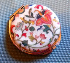 Pocket Mirror, Polymer Clay Image Transfer, Asian Inspired, Silver Metal