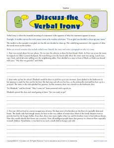 research papers on irony Essay paper on irony as children we make many idle threats and angry promises, never realizing the impact they could bestow upon our lives at the.
