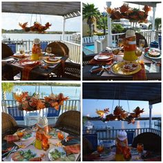 coastal-fall-table-collage from The Painted Apron Coastal Fall, Coastal Decor, Sparkling Waters, Hamptons Decor, Coastal Bedding, Pink Sunset, Fall Table, Bedroom Themes, Fall Pumpkins