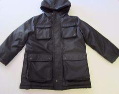 Nautica Coat S Small 8 Black Hood Zip Snap Front Boy #Nautica