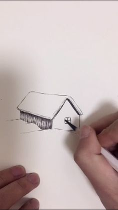 Painting hut - New Ideas Landscape Drawings, Landscape Art, Pencil Art, Pencil Drawings, Drawing Tutorials For Beginners, Boat Painting, Hand Art, Nail Art Galleries, Drawing Techniques