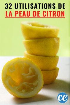 Les citrons sont rafraîchissants et excellents pour la santé ! Tous les matins, je bois un jus de citron frais dans un verre d'eau pour stimuler mon système digestif. Je m'en sers aussi pour la fabrication de mes produits d'entretien. Mais après avoir utilisé le jus, que faire avec la peau de citron ? Au lieu de la jeter à la poubelle, il existe plein d'utilisations étonnantes que personne ne connaît ! Voici 32 utilisations de la peau de citr Naan, Beignets, Lemon Benefits, Natural Cleaning Products, Snacks, Love Food, Food And Drink, Healthy Recipes, Homemade