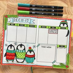 Winter penguin bullet journal weekly page by Kate Hadfield – artsy bujo layouts and ideas!