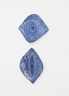 Demetria Chappo Ceramics Set of Two Sgraffito Spirit Eye Tapas Plates in Lapis #totokaelo #demetriachappo