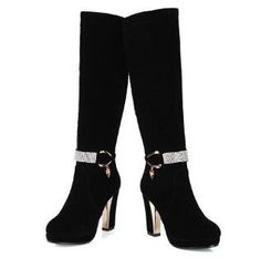 Nubuck PU Round Toe Square High Heels w/Metal Belt & Rhinestone Accents Black or Red Thigh High Boots Heels, Red High Heels, Womens High Heels, Knee Boots, Bootie Boots, Sexy Boots, Cool Boots, Fashion Boots, Sneakers Fashion