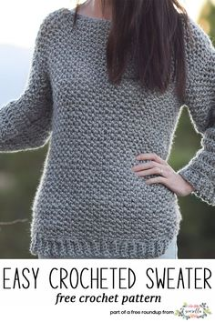 Get the free crochet pattern for these faux knit easy crochet sweater from Mama In a Stitch featured in my crochet that looks knit FREE pattern roundup!
