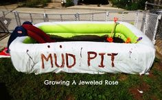 Play in the Mud - How much fun can it get? Homemade mud pit and other play stations are used with the last station (of course) a cleanup station with a kid's pool filled with water and sponges. Sensory Bins, Sensory Activities, Infant Activities, Outdoor Activities, Educational Activities For Kids, Craft Activities For Kids, Summer Activities, Ludo, Baby Pool