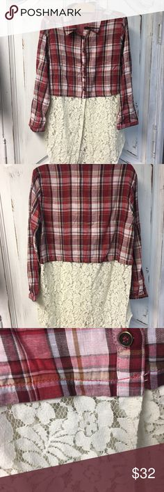 Button Down Flannel with Lace bottom Has pretty lace trim at the bottom of this button down  NWT Tops Button Down Shirts