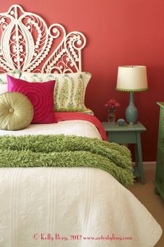 Beautiful pink and green bedroom