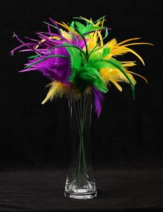 Elegant Mardi Gras Table Centerpieces | Package of 6 Mardi Gras Fuzzy Feather Sprays - Floral Picks, Sprays ...
