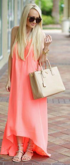 Coral Spring Maxi Dress