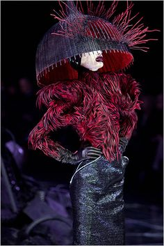 Alexander Mcqueen - Love the Top, Gloves and Skirt Combo... the headpiece, well...