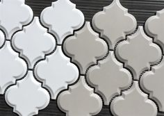 $11.95 a Square Foot Beveled Vento Gray Arabesque next to Beveled Whisper White Arabesque in stock. Ships in 1-2 Business Days. Free Shipping. Valid thru 2016. Arabesque Tile, Kitchen Remodel, Building A House, Home Goods, Sweet Home, New Homes, Design Inspiration, Blog, Geometric Patterns