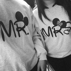 cute Disney couples sweatshirts - NEED these when I get married! Couple In Love, Cute Love Couple, Paris Couple, Couple Stuff, Beautiful Couple, Cardigan Shirt, Shirt Jacket, Grey Sweater, Cute Couple Shirts