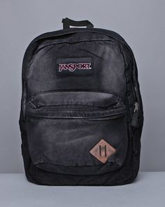 Vintage jansport leather canvas backpack bookbag bag pack made usa ...