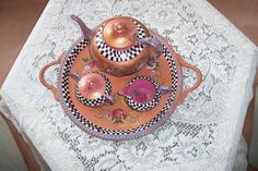 HAND PAINTED SILVER TEA SERVICE.  YOU DONT HAVE TO POLISH IT ANYMORE!