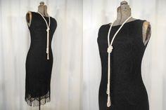 Vintage 1990s Dress / 90s Black 1920s Style Flapper Dress / 20s Dress / Black Lace Flapper Costume / Black Party Dress by RockabillyRavenVtg on Etsy