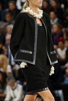 DIY inspo - chunky pearl neacklace and jacket with leather trim.  Chanel Ready-to-Wear S/S 2013 gallery - Vogue Australia