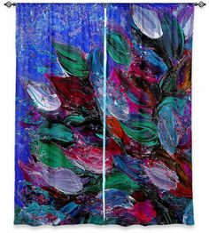 BLOOMING BEAUTIFUL Bold Floral Fine Art Window Curtains by EbiEmporium, Leaves Colorful Elegant Decorative Modern Home Decor Style Royal Blue Green Crimson Magenta #blue #floral #flowers #leaves #garden #windowcurtains #curtains #decor #homedecor #decorative #art #fineart #painting