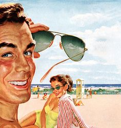 rogerwilkerson:  Sunglasses - detail from 1952 Ray Ban Sunglasses ad.  Studies show that sunglasses are 22% more effective when placed on the face and not held in the air like an idiot.