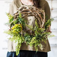 Wreath Spring Green on Rattan – RusticReach Artificial Boxwood, Artificial Flowers, Metal Hanging Planters, Yellow Plants, Greenery Decor, Boxwood Topiary, Spring Door Wreaths, Floral Hoops, Spring Green