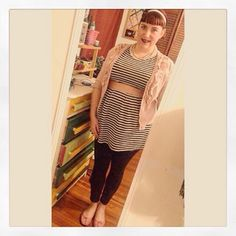 Pin Up Fashion ootd plus size outfit for work super cute pale pink cardigan with black and white striped mini dress