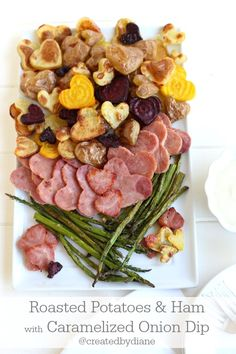 Heart Shaped Roasted Potatoes and Ham with Caramelized Onion Dip www ...