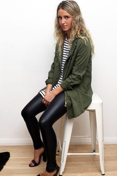 khaki anorak + striped tee + leather look leggings