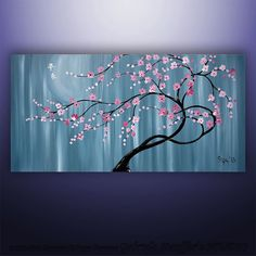 "CUSTOM PAINTING Abstract Painting Original Modern  Asian Blossom Tree Original Painting Art by Gabriela 48""x24"" Abstract Asian Painting on Etsy, Sold"