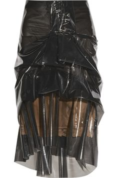 Well, at least they can say they're 'recycling' ... right?                             Marc Jacobs|Ruffled silk-lined plastic skirt|NET-A-PORTER.COM