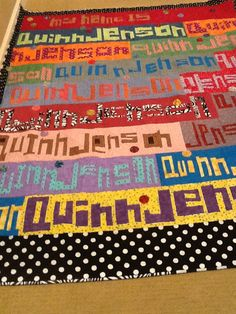 Word Play Quilts by: Tonya Ricucci  Quilt made by: Approx 66x80 A gift for my granddaughter Quinn Jenson on her eighth birthday Pieced entire quilt top in twelve days...., 'couldn't stay away from it! What a hoot!!  Glendia Fulkerson  Martingale & Company