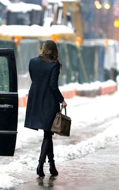 Miranda's dark blue coat ... Love it
