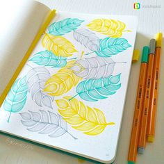 Who here draws flora in their journal? It brings such peace to one's soul.  Feathers by @glinda184