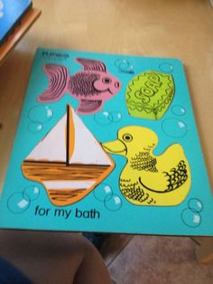 Vintage PlaySkool For My Bath 155-16 Wooden Wood Toddler Puzzle Ducky Soap Fish $8.99