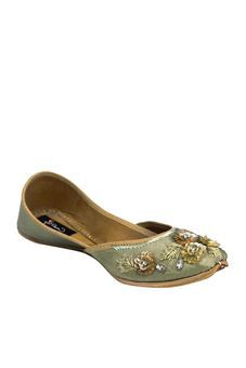 Sage Green Jutti With Delicate Hand Embroidered by Coral Haze, Womens Juttis & Mojaris