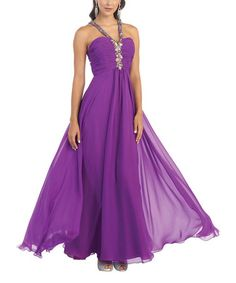 Another great find on #zulily! Purple Rhinestone-Embellished Open-Back Dress #zulilyfinds  $74.99
