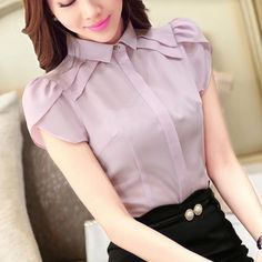 2016 dressed shirt Formal Summer New Short Puff Sleeve Turn Down Collar Shirts Office Business Blouses Shirts Easy Care Tops Casual Wear Women, Sleeves Designs For Dresses, Collar Shirts, Skirt Outfits, Casual Tops, Blouse Designs, Blouses For Women, Fashion Outfits, How To Wear