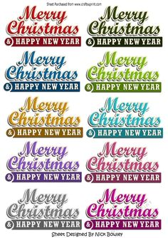 10 Merry Christmas &amp Happy New Year banners by Nick Bowley 10 Merry Christmas & Happy New Year banners in lots of lovely colours can be seen in other designs in my designer resources