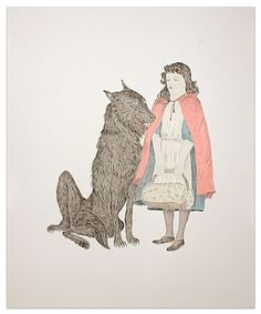 Kiki Smith Friend, 2008 Intaglio with handcoloring 66 x 52 inches Kiki Smith, Muse, Artwork Images, Feminist Art, Red Riding Hood, Conceptual Art, Art Plastique, Little Red, Dibujo