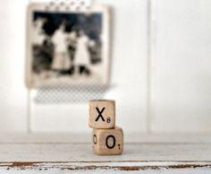 Vintage brief kubussen XO van hilltopcottage op Etsy